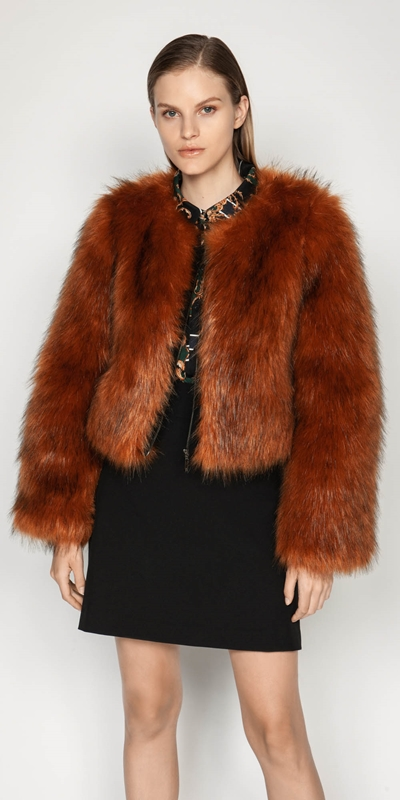 Jackets | Copper Faux Fur Jacket