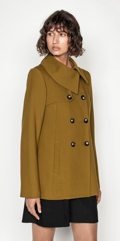 Coats | Soft Twill Double Breasted Coat