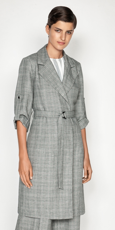 Jackets | Linen Check Trench Jacket