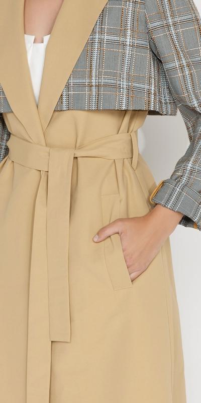 Jackets and Coats | Tweed Check Maxi Trench