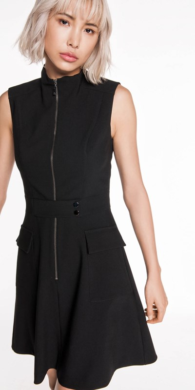Sale | Zip Front Funnel Neck Dress
