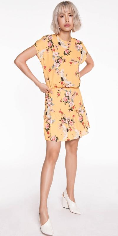 Sale | Yellow Crane Georgette Dress