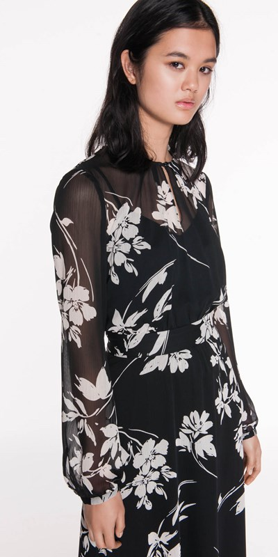 Dresses  | Monochrome Floral Midi Dress