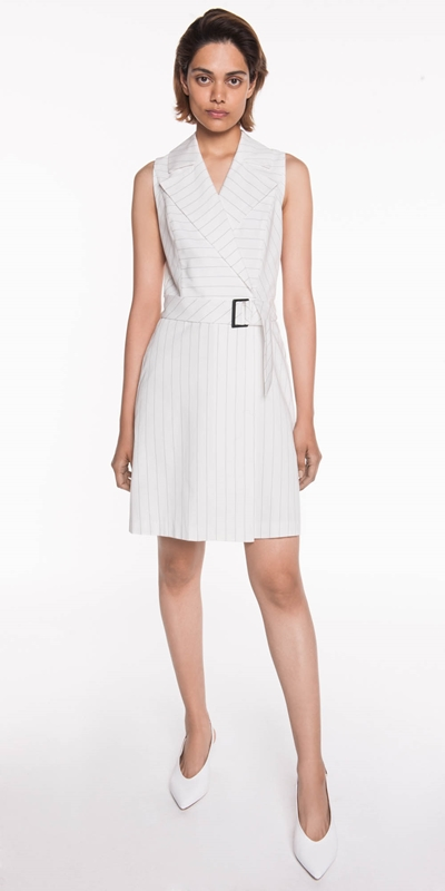 Sale  | Pinstripe Cotton Belted Dress