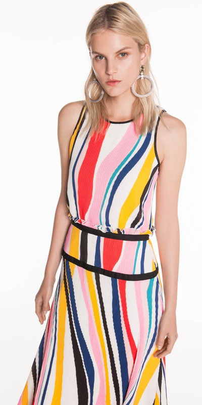 Sale  | Pleated Stripe Georgette Dress