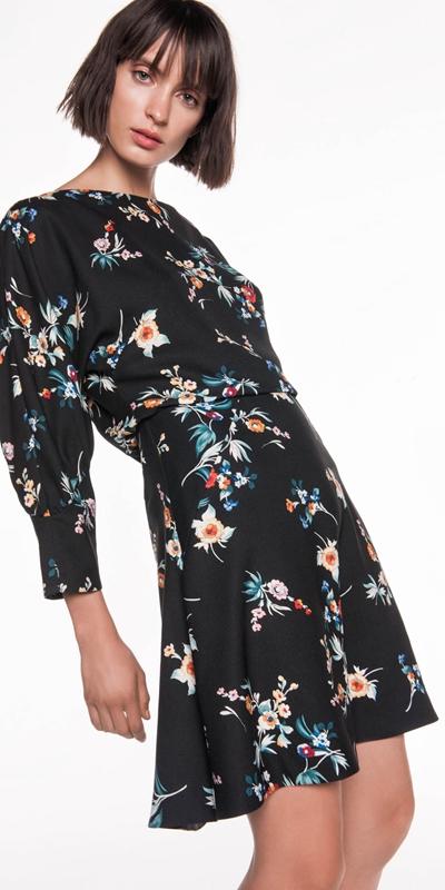 Dresses | Floral Gathered Sleeve Dress