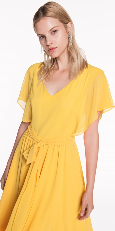 Dresses  | Yellow Chiffon Midi Dress