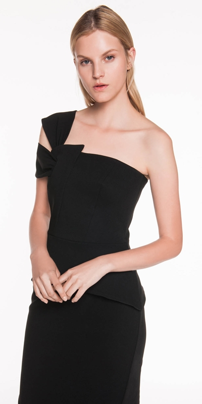 Made in Australia | Asymmetric Draped Shoulder Dress
