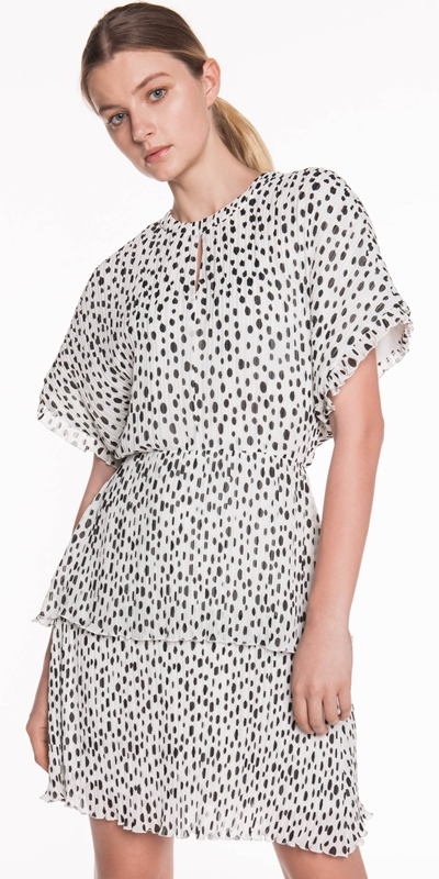 Made in Australia  | Pleated Spot Georgette Dress
