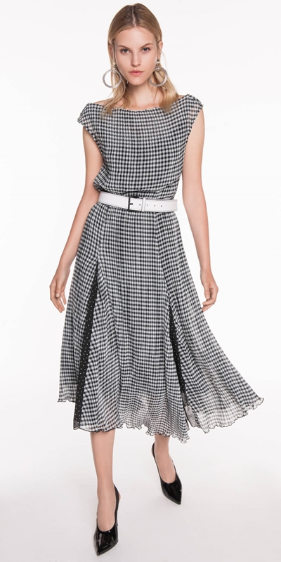 Pleated Gingham Midi Dress  e2cf8a7b94a8