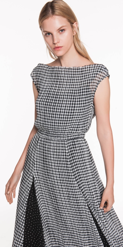 Dresses  | Pleated Gingham Midi Dress