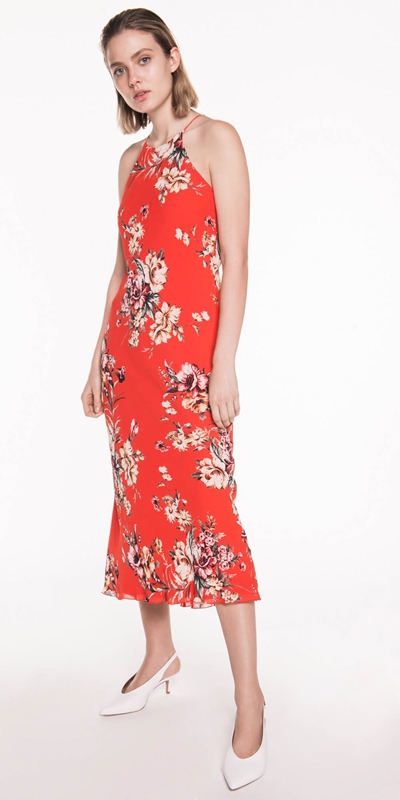 Curated | Painted Floral Midi Dress