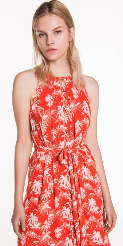 Sale  | Tropical Palm Button Front Dress