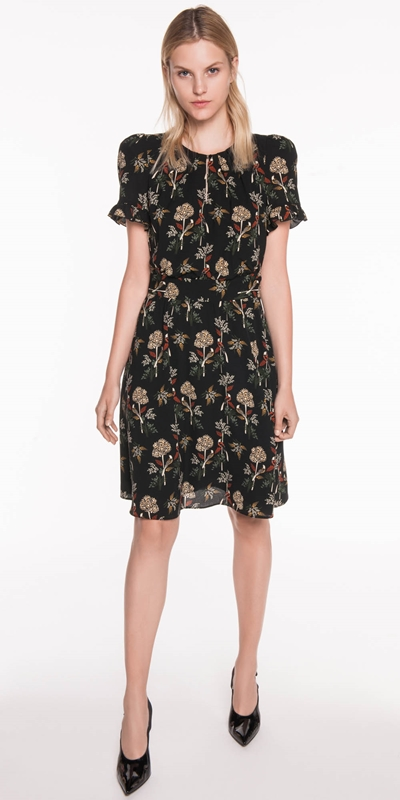 Dresses | Nouveau Bird Frilled Cuff Dress