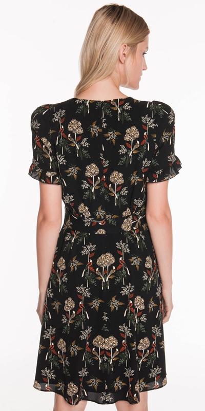 Dresses   Nouveau Bird Frilled Cuff Dress