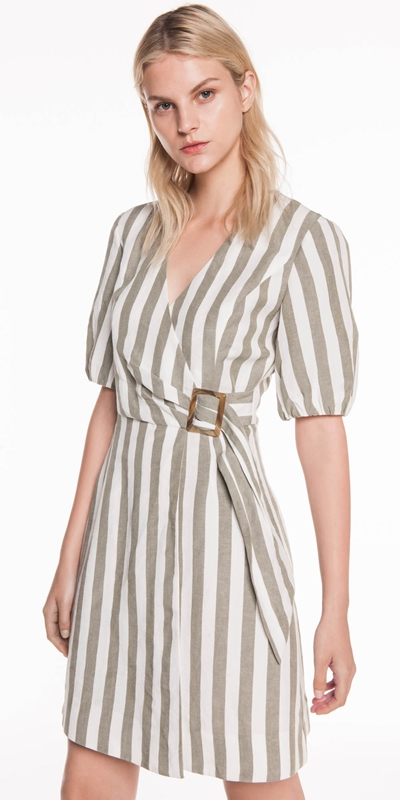Dresses | Stripe Linen Wrap Dress
