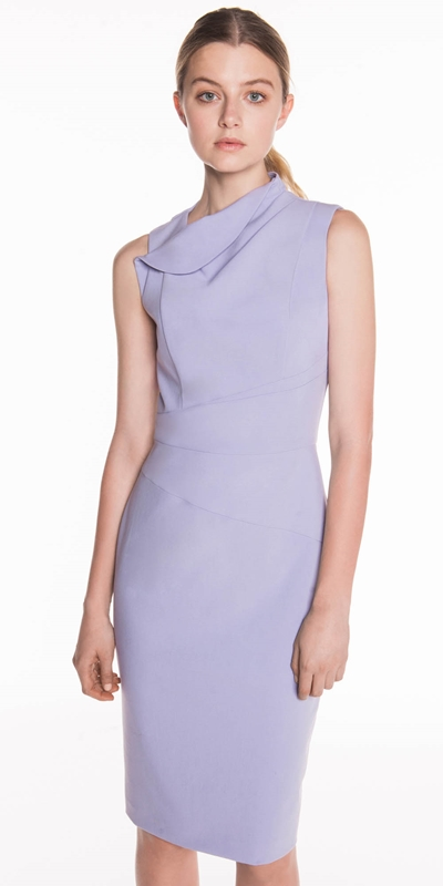 Made in Australia  | Lavender Draped Neck Pencil Dress