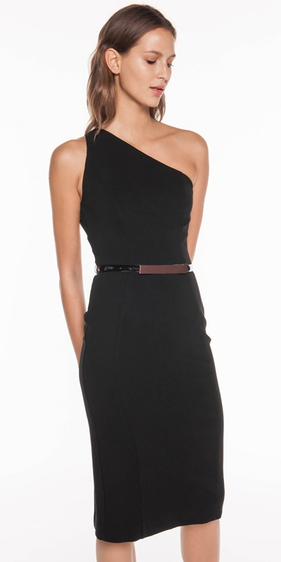 The Party Edit  | Belted One Shoulder Pencil Dress
