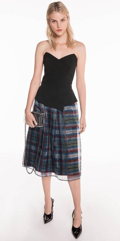 Made in Australia | Check Organza Strapless Dress