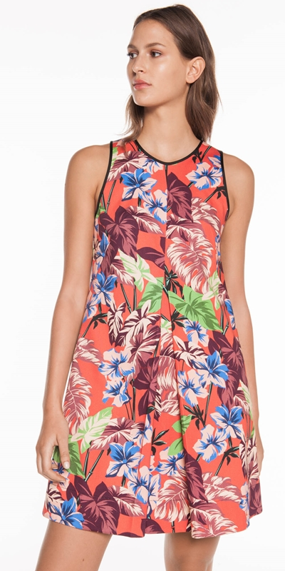 Sale  | Hibiscus Palm Trapeze Dress