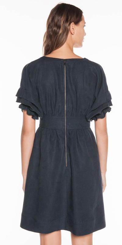 Dresses   Linen Tuck Sleeve Dress
