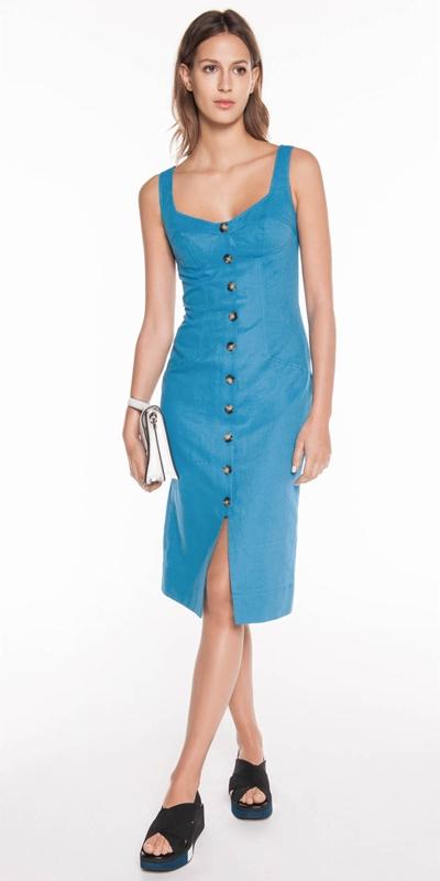 Sale | Linen Twill Button Front Dress