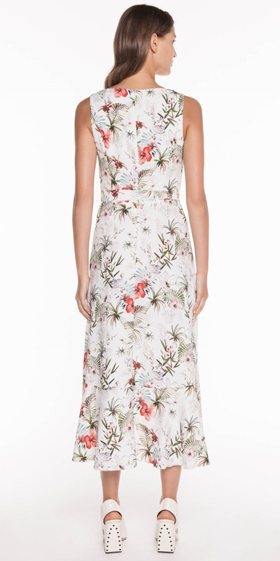 Dresses | Tropical Crepe Belted Dress