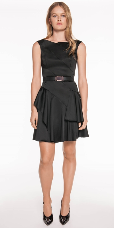 The Party Edit | Satin Belted Asymmetric Dress