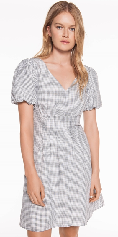 Dresses  | Linen Mini Check Dress