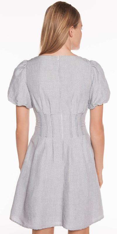 Dresses | Linen Mini Check Dress