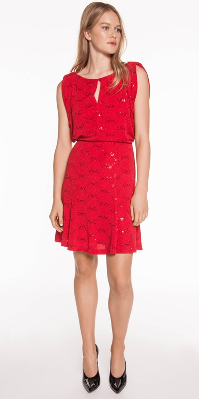 Made in Australia | Red Sequin Knit Dress