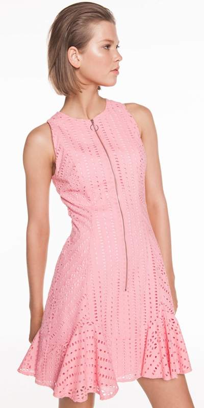 Dresses  | Broderie Zip Front Dress
