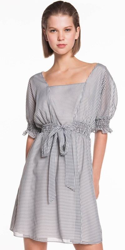 Dresses | Mini Gingham Shirred Dress