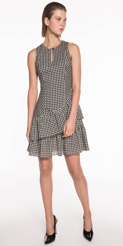 Dresses | Gingham Voile Asymmetric Dress