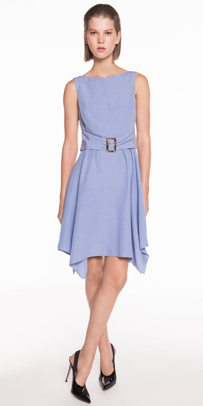 Made in Australia | Linen Blend Buckled Waist Dress