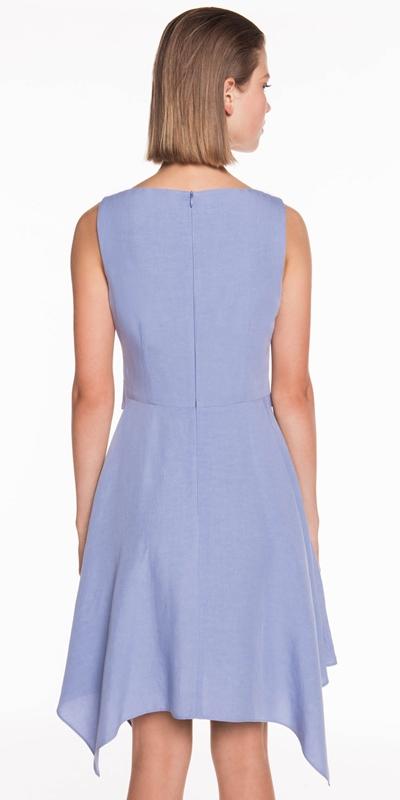 Dresses   Linen Blend Buckled Waist Dress