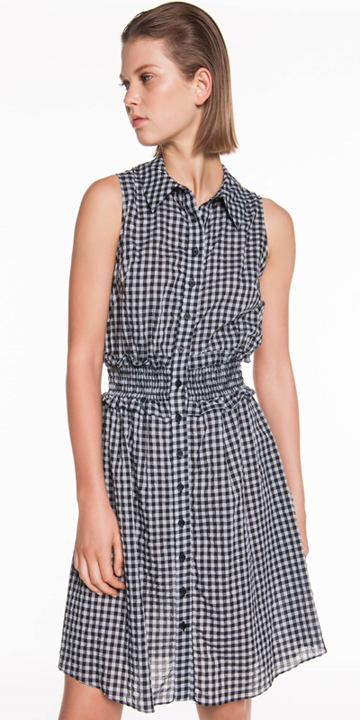 Dresses  | Gingham Voile Shirt Dress