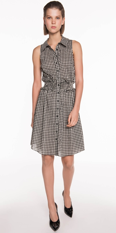 Sale | Gingham Voile Shirt Dress