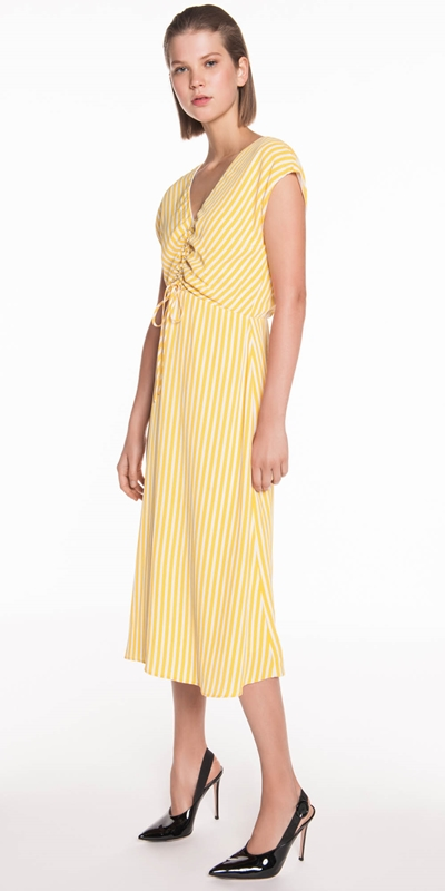 Dresses | Yellow Stripe Midi Dress