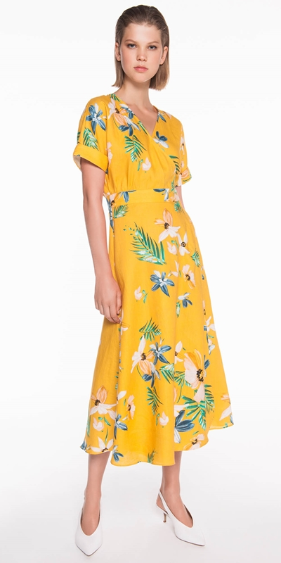 Dresses | Daisy Palm Linen Wrap Dress