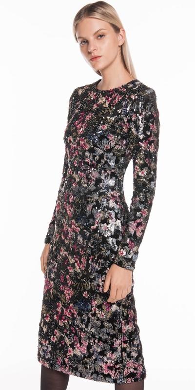 Dresses | Velvet Sequin Long Sleeve Dress