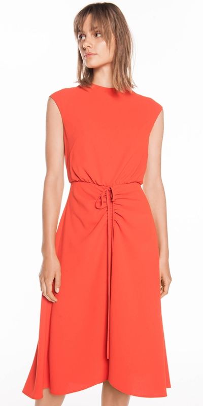Dresses | Soft Crepe Ruched Front Dress