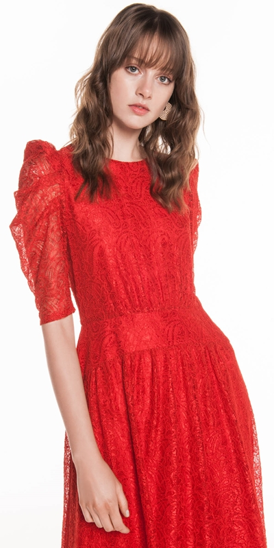 Dresses | Stitched Paisley Lace Midi Dress