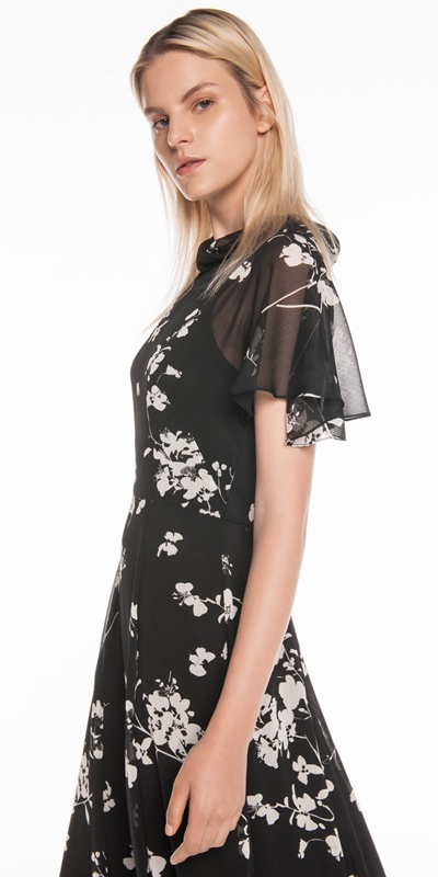 Dresses   Cherry Blossom Georgette Midi Dress