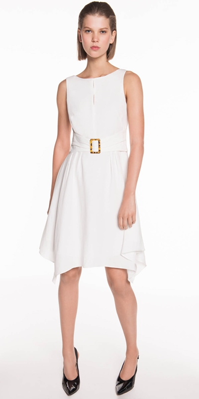 Dresses | Linen Blend Buckled Waist Dress