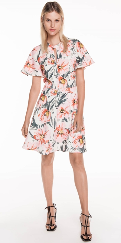 Made in Australia | Painted Floral Tucked Sleeve Dress