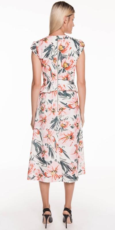 Dresses | Painted Floral Peplum Midi Dress