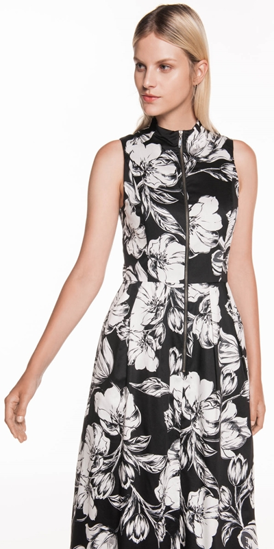 Wear to Work  | Illustrated Tulip Zip Front Dress
