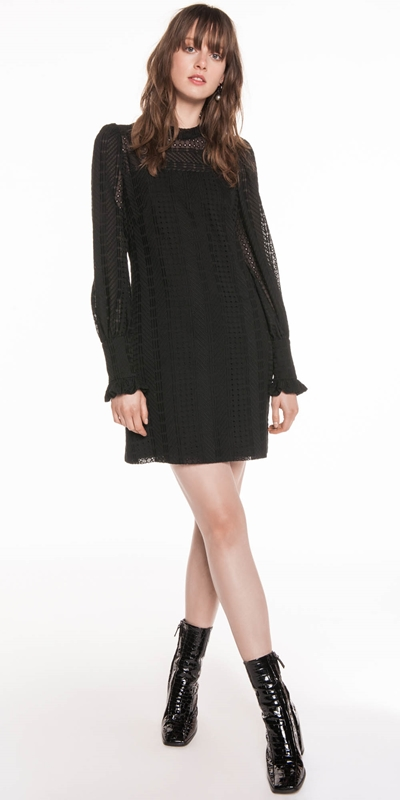 Made in Australia | Chevron Broderie Blouson Sleeve Dress