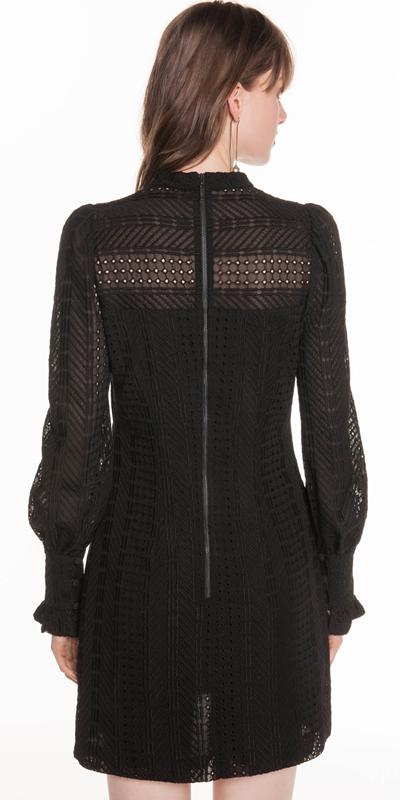 Dresses   Chevron Broderie Blouson Sleeve Dress